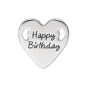 link, antique silver-finished pewter (zinc-based alloy), 25.5mm single-sided flat heart with happy birthday. sold individually.
