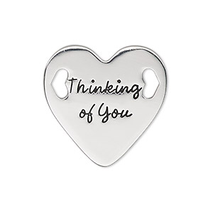 link, antique silver-finished pewter (zinc-based alloy), 25.5mm single-sided flat heart with thinking of you. sold individually.