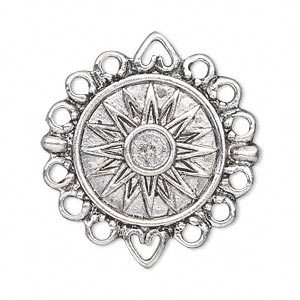 link, antique silver-plated pewter (zinc-based alloy), 23mm single-sided flat round with sun design and 12 loops. sold per pkg of 2.