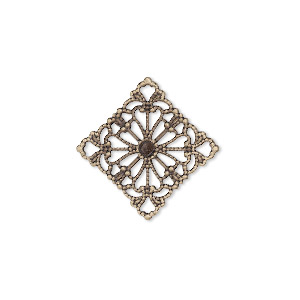 link, antiqued brass, 21.5x21.5mm single-sided filigree diamond. sold per pkg of 25.