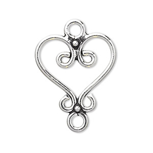 link, antiqued sterling silver, 23x23mm fancy heart. sold individually.
