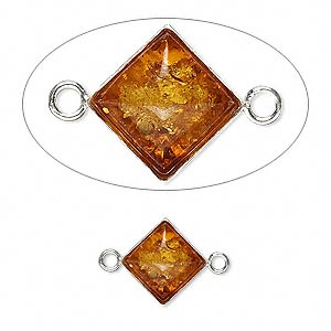 link, baltic amber (heated) and sterling silver, 11mm diamond. sold per pkg of 2.