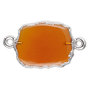 link, carnelian (dyed / heated) / sterling silver / silver-plated copper, 13x12mm-15x14mm freeform rectangle. sold per pkg of 2.