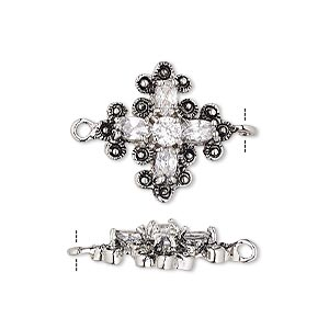 link, cubic zirconia and antique silver-plated bronze, clear, 19x19mm single-sided cross with 7x3mm faceted oval and 4mm faceted oval. sold individually.
