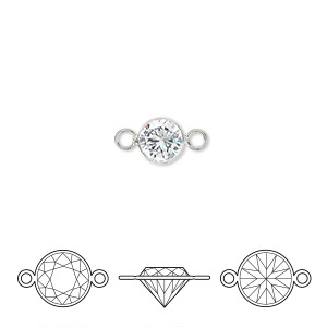 link, cubic zirconia and sterling silver, clear, 6.5mm round with 6mm faceted round. sold individually.
