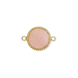 link, druzy agate (dyed) and gold-plated sterling silver, pink, 14-16mm hand-cut single-sided flat round with twisted wire design. sold individually.