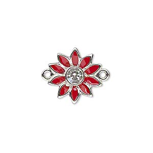 link, enamel / swarovski crystals / silver-plated pewter (zinc-based alloy), red and crystal clear, 16x15mm single-sided flower. sold individually.