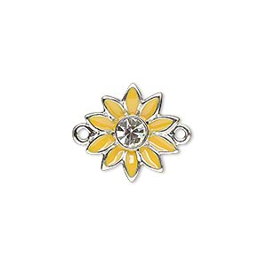 link, enamel / swarovski crystals / silver-plated pewter (zinc-based alloy), yellow and crystal clear, 16x15mm single-sided flower. sold individually.