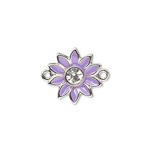 link, enamel / swarovski crystals / silver-plated pewter (zinc-based alloy), purple and crystal clear, 16x15mm single-sided flower. sold individually.