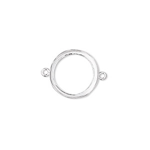 link, fine silver, 14.5mm open-back round with 14mm round bezel cup setting. sold per pkg of 2.