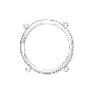 link, fine silver, 29mm round with open back and 28mm round setting, 4 loops. sold individually.