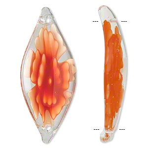link, glass, clear/light orange/dark orange, 50x20mm flat oval. sold individually.