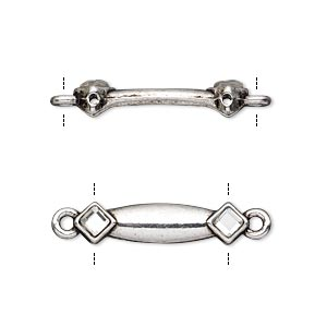 link, glass rhinestone and antiqued silver-finished pewter (zinc-based alloy), clear, 24x6mm double-drilled bar with diamond design, fits up to 18mm bead. sold per pkg of 10.