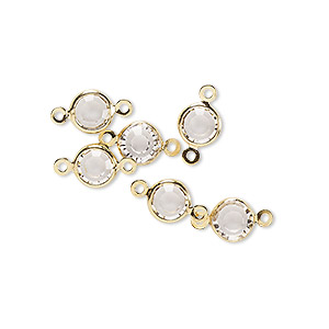 link, glass rhinestone and gold-finished brass, crystal clear, 6-6.5mm faceted round. sold per pkg of 6.
