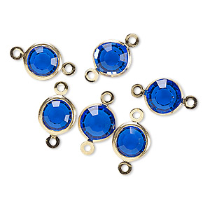 link, glass rhinestone and gold-finished brass, sapphire blue, 8-9mm faceted round. sold per pkg of 6.
