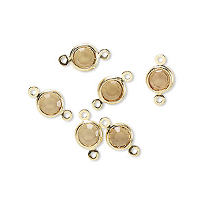 link, glass rhinestone and gold-finished brass, topaz yellow, 6-6.5mm faceted round. sold per pkg of 6.