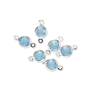 link, glass rhinestone and silver-finished brass, aqua blue, 6-6.5mm faceted round. sold per pkg of 6.
