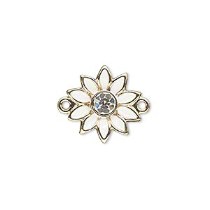 link, gold-finished pewter (zinc-based alloy) / swarovski crystal rhinestone / enamel, white and crystal clear, 16x15mm single-sided flower. sold individually.