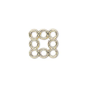 link, gold-finished pewter (zinc-based alloy), 15x15mm square with flat back and 8 loops. sold per pkg of 4.