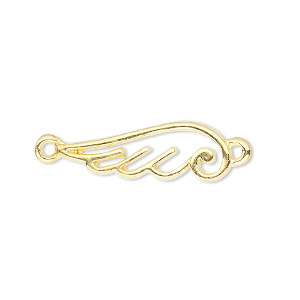 link, gold-finished pewter (zinc-based alloy), 26x9mm single-sided open curved wing. sold per pkg of 4.