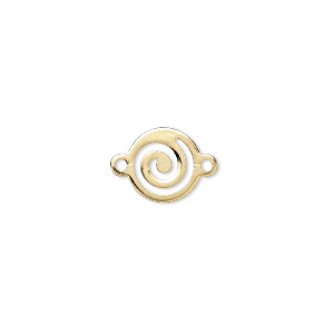 link, gold-plated brass, 10mm round swirl. sold per pkg of 100.