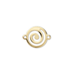 link, gold-plated brass, 13mm round swirl. sold per pkg of 100.