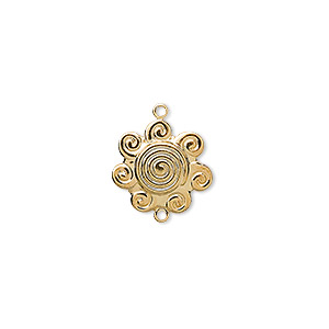 link, gold-plated brass, 14x14mm swirl flower. sold per pkg of 10.