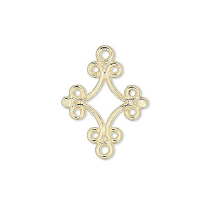 link, gold-plated brass, 18x17mm diamond. sold per pkg of 10.