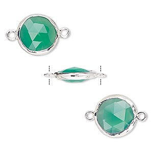 link, green onyx (dyed) and sterling silver, 12mm double-sided faceted round. sold per pkg of 2.