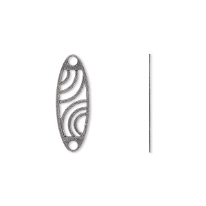 link, gunmetal-plated brass, 21x7mm oval with cutout wave design. sold per pkg of 20.