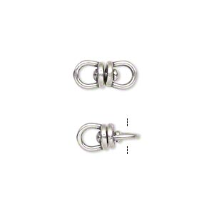 link, jbb findings, antique silver-plated brass, 13.5x6mm with center swivel. sold per pkg of 2.