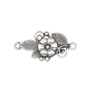 link, jbb findings, antique silver-plated brass, 23.5x14mm single-sided flower and leaves. sold individually.