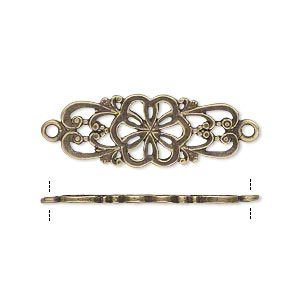 link, jbb findings, antiqued brass, 26.5x11mm double-sided filigree flower. sold individually.