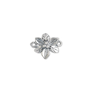 link, jbb findings, antiqued sterling silver, 12.5x11.5mm single-sided flower. sold per pkg of 2.