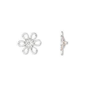 link, jbb findings, sterling silver, 11x11mm flower with 6 loops. sold per pkg of 2.