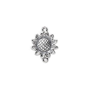 link, jbb findings, sterling silver, 13x13mm sunflower. sold individually.