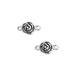link, jbb findings, sterling silver, 8x7mm rose. sold per pkg of 2.