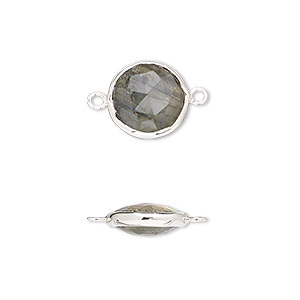 link, labradorite (natural) and sterling silver, 12mm double-sided faceted round. sold per pkg of 2.