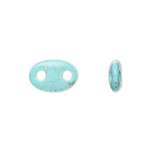 link, magnesite (dyed/stabilized), blue, 14x10mm hand-cut oval, b grade, mohs hardness 3-1/2 to 4. sold per pkg of 2.
