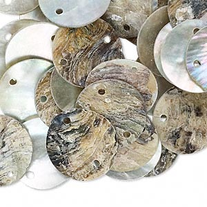 link, mussel shell (natural / coated), natural, 15mm flat round. sold per pkg of 100.