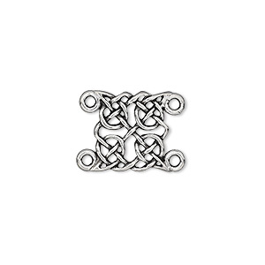 link, pewter (tin-based alloy), 13x13mm double-sided celtic braid. sold per pkg of 4.