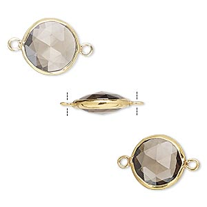 link, smoky quartz (heated / irradiated) and gold-finished sterling silver, 12mm double-sided faceted round. sold per pkg of 2.