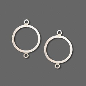 link, sterling silver, 14mm flat round with 2-loops. sold per pkg of 2.