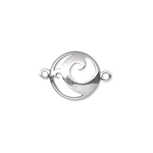 link, sterling silver, 15mm single-sided domed round with swirl cutout design. sold individually.