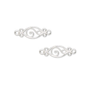 link, sterling silver, 19x6mm double-sided fancy oval. sold per pkg of 2.