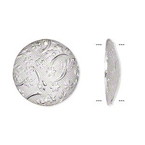 link, sterling silver, 20mm single-sided textured puffed flat round with flower pattern. sold individually.