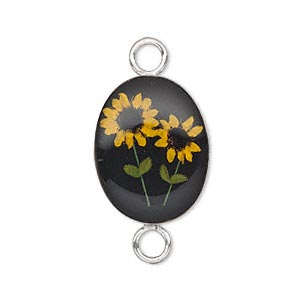 link, sterling silver and acrylic resin with sunflower, black with yellow flower, 22x16mm oval. sold individually.