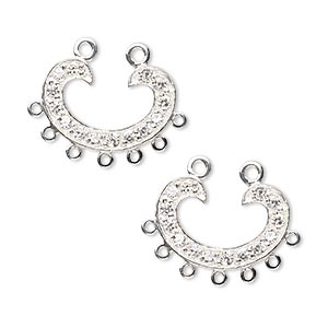 link, sterling silver and cubic zirconia, clear, 18x12mm single-sided horseshoe with closed 7 loops. sold per pkg of 2.