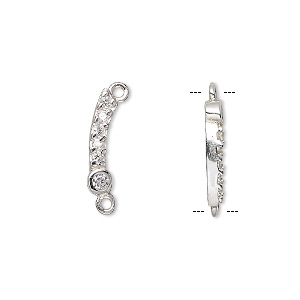 link, sterling silver and cubic zirconia, clear, 20x2mm curved stick. sold per pkg of 2.
