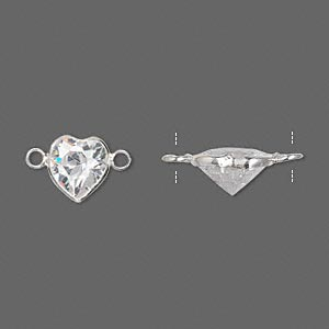 link, sterling silver and cubic zirconia, clear, 9x8.5mm faceted heart. sold per pkg of 2.